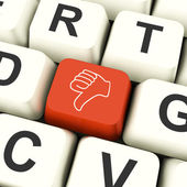 Thumbs Down Computer Key Showing Dislike Failure And False — Stock Photo