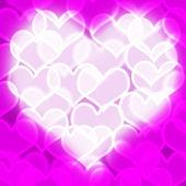 紫红色散景背景显示爱浪漫和许茹芸的心 — 图库照片