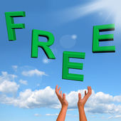 Free Word Falling In Green Showing Freebies and Promotions — Stock Photo