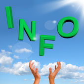 Catching Info Word Showing Information And Support — Stock Photo