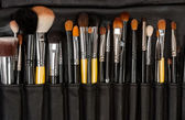 Makeup brushes in leather — Stock Photo