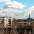 View from pripyat hotel with nuclear power plant, 2012 — Foto de Stock