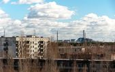 View from pripyat hotel with nuclear power plant, 2012 — Stock Photo