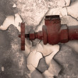 Rusty old tap against concrete wall — Stockfoto