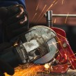 Stock Photo: Circular saw in action