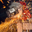 Foto Stock: How to use circular saw to make beautiful sparks