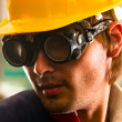 Stock Photo: Industrial worker in protective suit