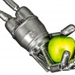 Robot hand with green apple on isolated white background — Stock Photo