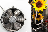 Clean ventilator with beautiful flowers — Stok fotoğraf