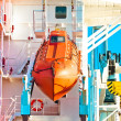Deep water transporter hanging on science ship - Stockfoto