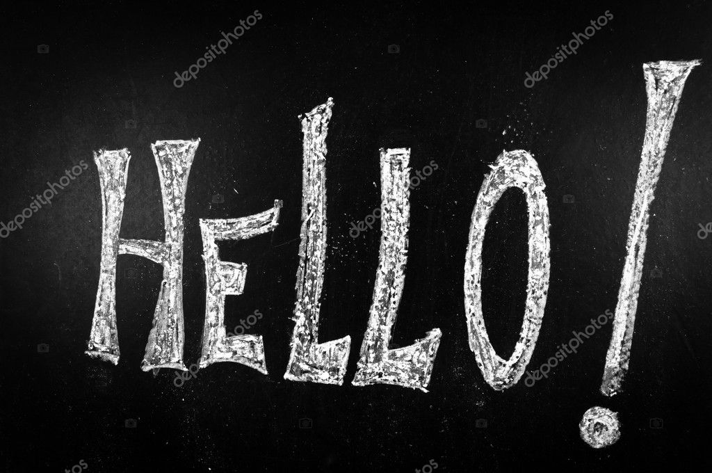 Hello written on a black chalkboard  Stock Photo #9272256