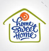 'home sweet home' el yazısı (vektör) — Stok Vektör