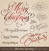 Christmas greetings hand lettering set (vector) — Vector de stock