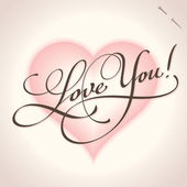 'Love you' hand lettering (vector) — Vettoriale Stock