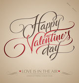 'happy valentine's day' hand belettering (vector) — Stockvector