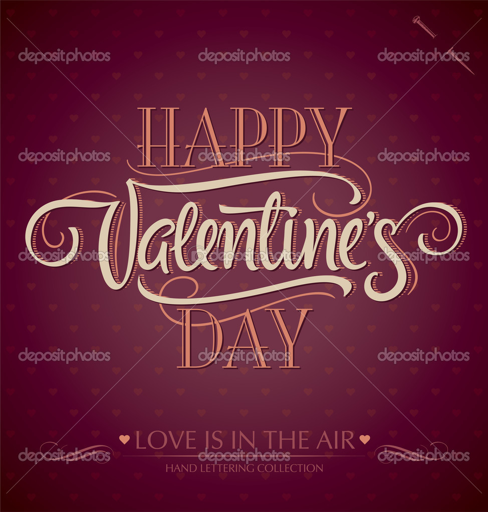 'happy valentine's day' hand lettering; scalable and editable vector illustration (eps8); — Stock Vector #8556042