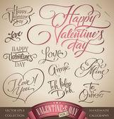 Lettering mano set di san valentino (vettore) — Vettoriale Stock