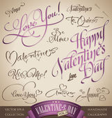 Valentine's hand lettering set (vector) — Stock Vector