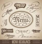 Menu hand lettered headlines set (vector) — Stockvector
