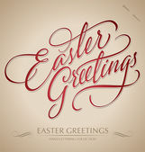 'easter greetings' hand lettering (vector) — Stock Vector