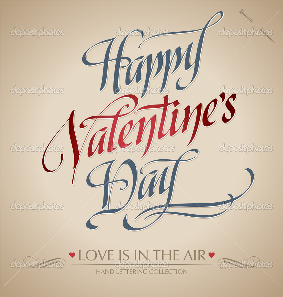 'happy valentine's day' hand lettering; scalable and editable vector illustration (eps8); — Stock Vector #9446129