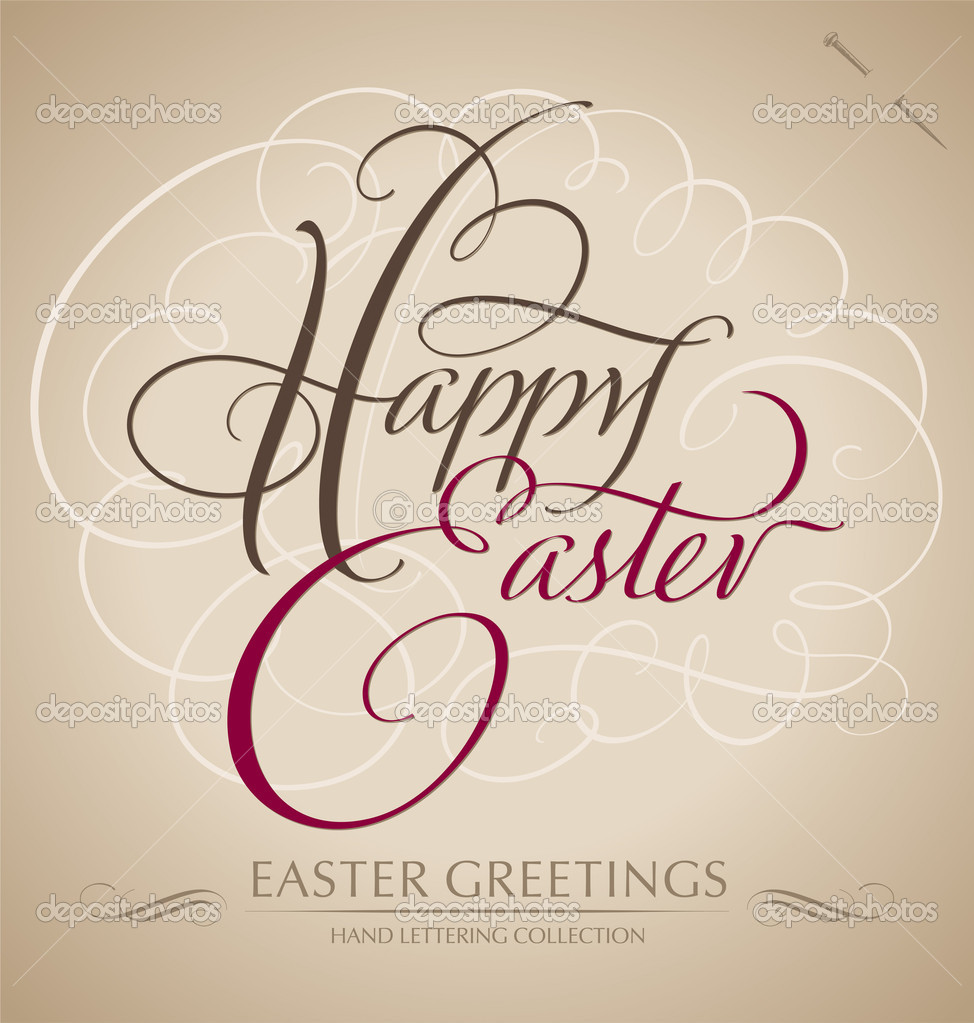 Happy easter hand lettering vector stock