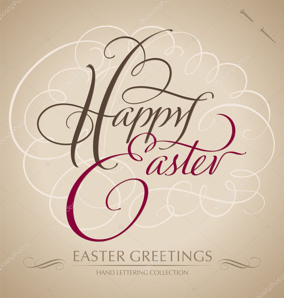 'happy easter' hand lettering - handmade calligraphy; scalable and editable vector illustration (eps8); — Stock Vector #9469779