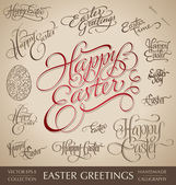 Easter greetings hand lettering set (vector) — Stok Vektör