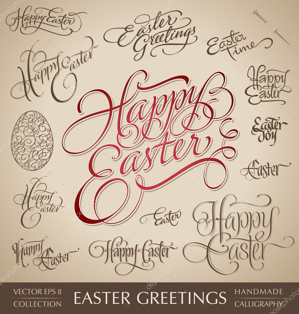 Set of 13 hand lettered easter greetings - handmade calligraphy; scalable and editable vector illustration (eps8); — Stock Vector #9687004