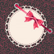Vector greeting card with frame and bow. Space for your text or — 图库照片 #10102357