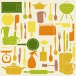 Vector illustration of kitchen tools for cooking - Foto Stock