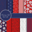 Set of beaautiful vector red and blue paper for scrapbook - 