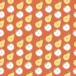 Vector seamless pattern of fruit - apple and pear - Foto de Stock  
