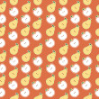 Vector seamless pattern of fruit - apple and pear - Foto Stock