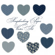 Set of different hearts in denim jeans color, design elements - Foto Stock