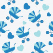 Seamless baby carriages pattern. vector background - Foto Stock