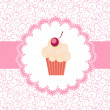 Card with a cupcake. vector illustration - Foto de Stock  