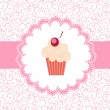 Card with a cupcake. vector illustration - Foto Stock