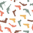 Vector guns set seamless pattern - 