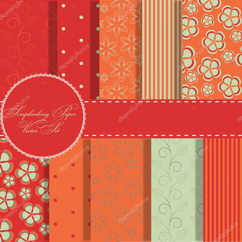 Set of beaautiful vector paper for scrapbook — Stock Photo #10199591