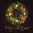 Stock Photo: Realistic christmas wreath on vintage background vector illustra