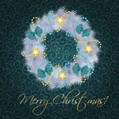 Realistic christmas wreath on vintage background vector illustra — Stock Photo