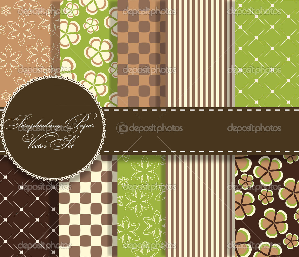 Set of beaautiful vector paper for scrapbook — Stock Photo #10238232