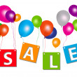 Balloons with sale letters . Concept of discount. Vector illustr — Stock Photo