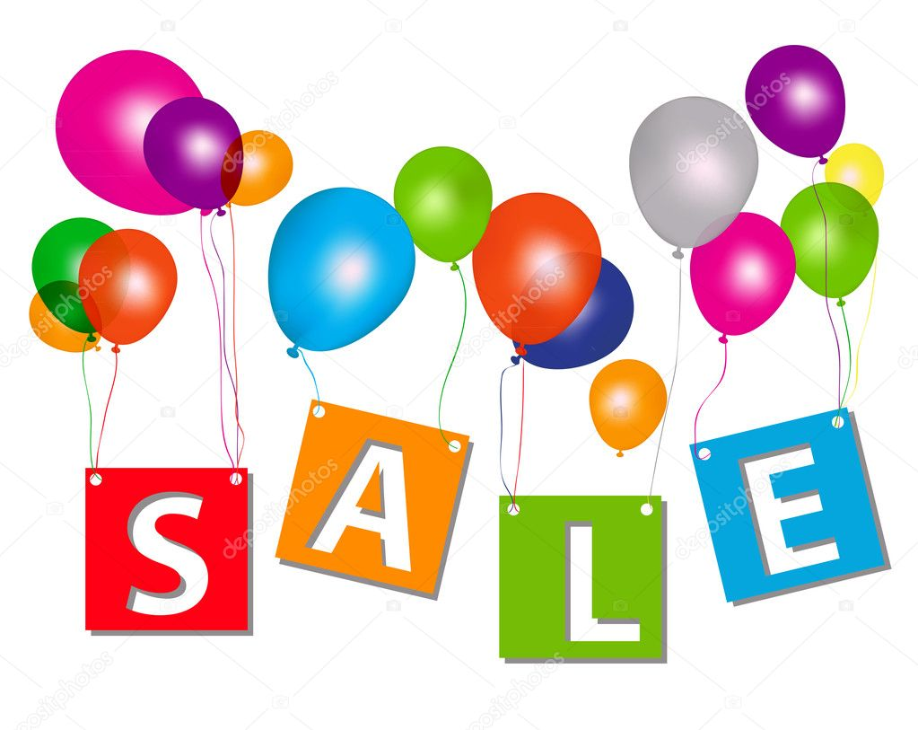Balloons with sale letters . Concept of discount. Vector illustration. — Stock Photo #10272483