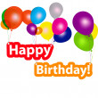 Group of balloons with the words happy birthday. vector illustra — Stock Photo