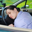 Young girl sleeps in her car. — Stock Photo #10462168