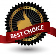 Vector best choice label with red ribbon. — Stock Photo #10480535