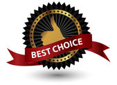 Vector best choice label with red ribbon. — Stock Photo