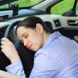 Young girl sleeps in her car. — Stock Photo #10502388